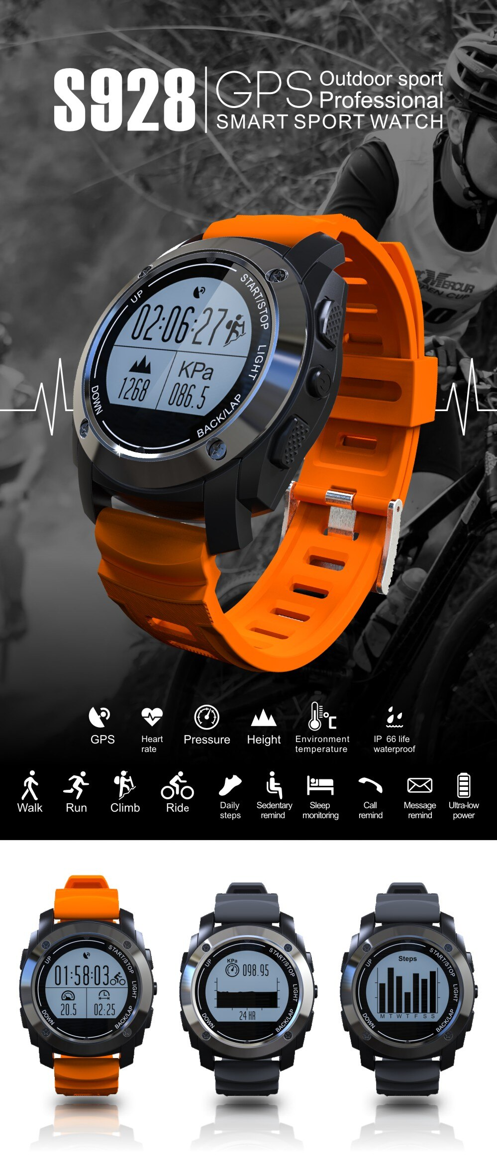Smart S928 GPS Smart Watch Outdoor Sports Bluetooth SmartWatch IP66 Waterproof Heart Rate Monitor Pedometer Watch Pressure for