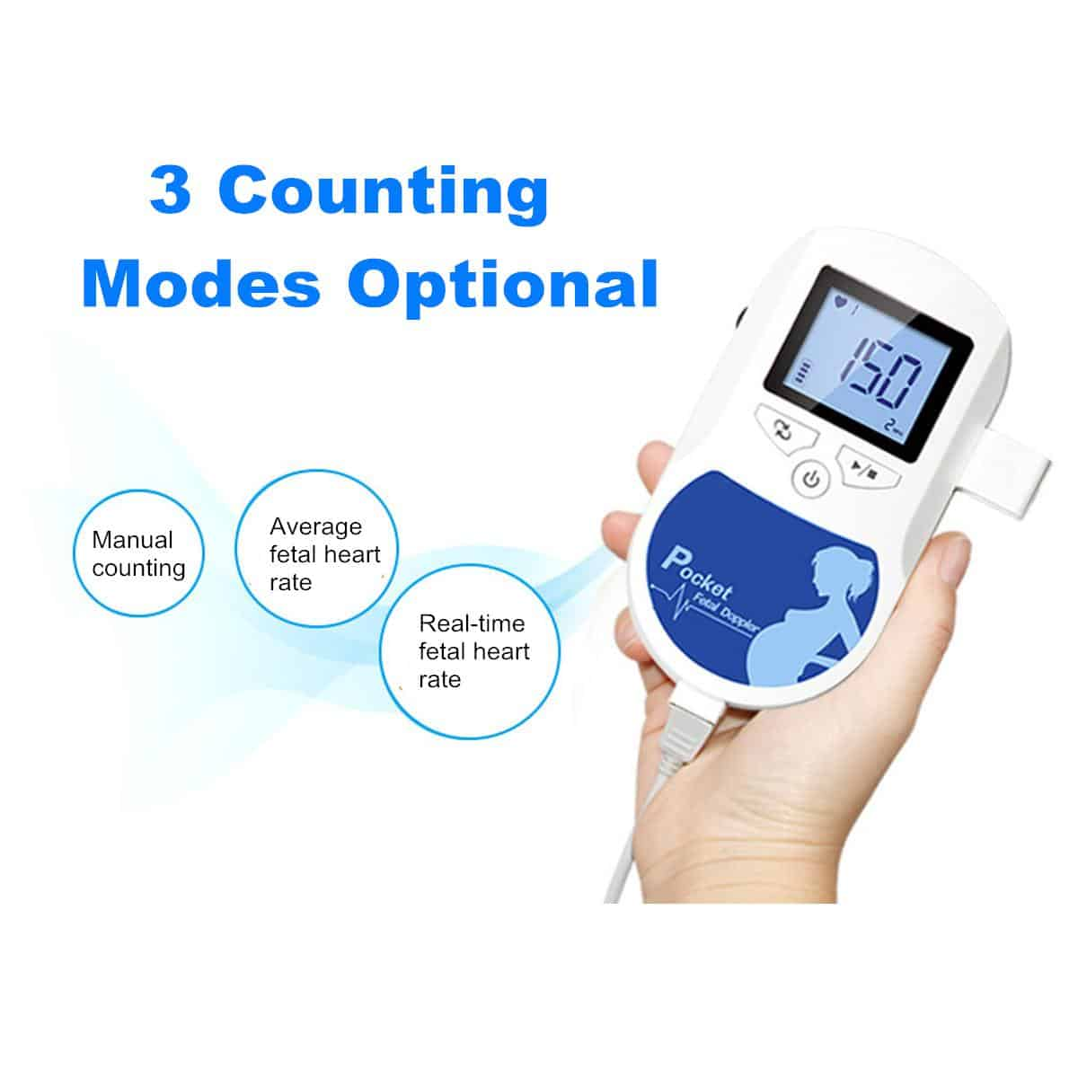 Household Fetal Doppler Detector LCD Display Baby Heartbeat Sound Monitor Health Prenatal Probe Health Care Meter Pocket Doppler