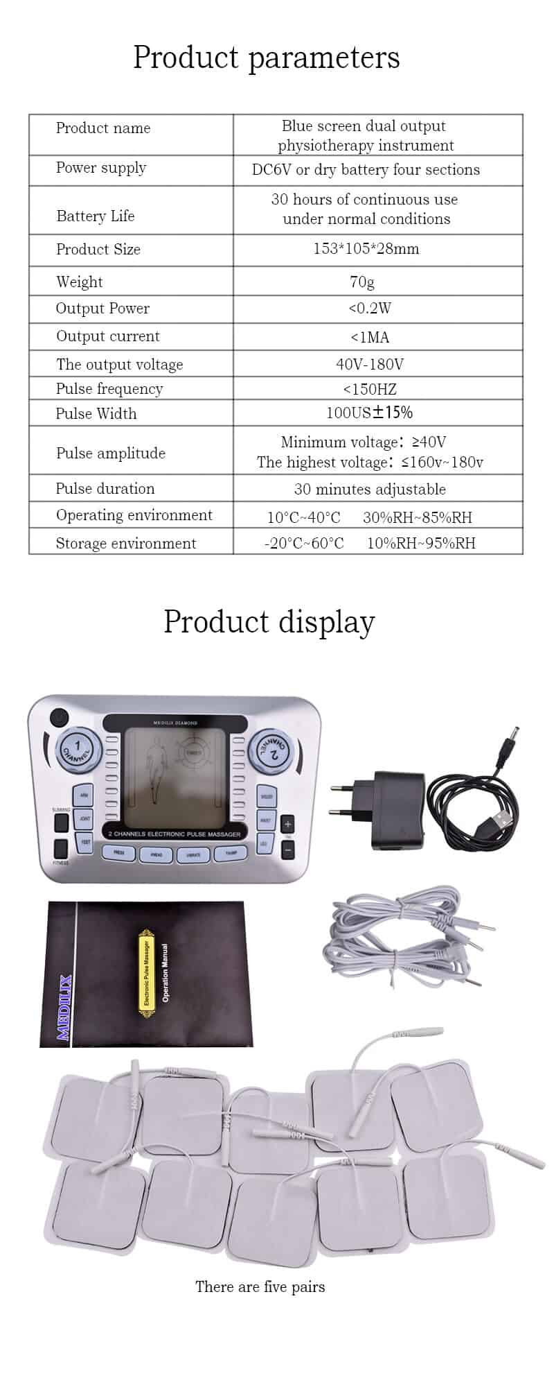 Electronic Pulse Massager Tens Ems Machine massager electrical nerve muscle stimulator Acupuncture Fat Burner Pain Relief