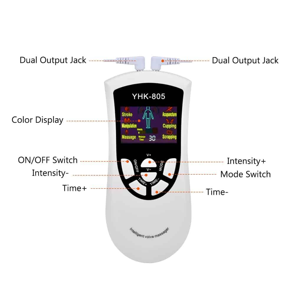 6/8/12/15 Modes Tens Machine Unit 4 Electrode Pads for Pain Relief Pulse Massage EMS Muscle Stimulation Tens Electroestimulador