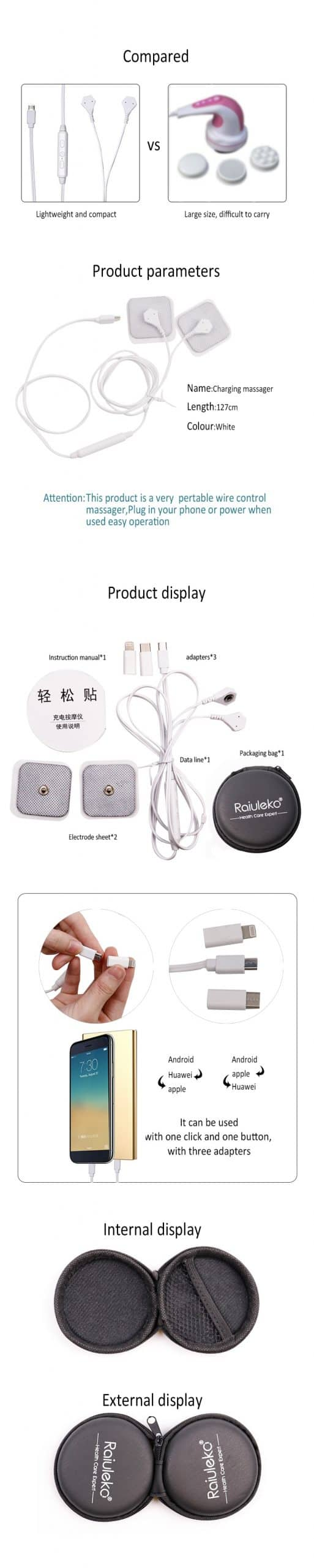 USB Portable Mini Pulse Body Phone Massager Mobile Phone Control Body Electrode Massage EMS TENS Relax Muscle Stimulator Therapy