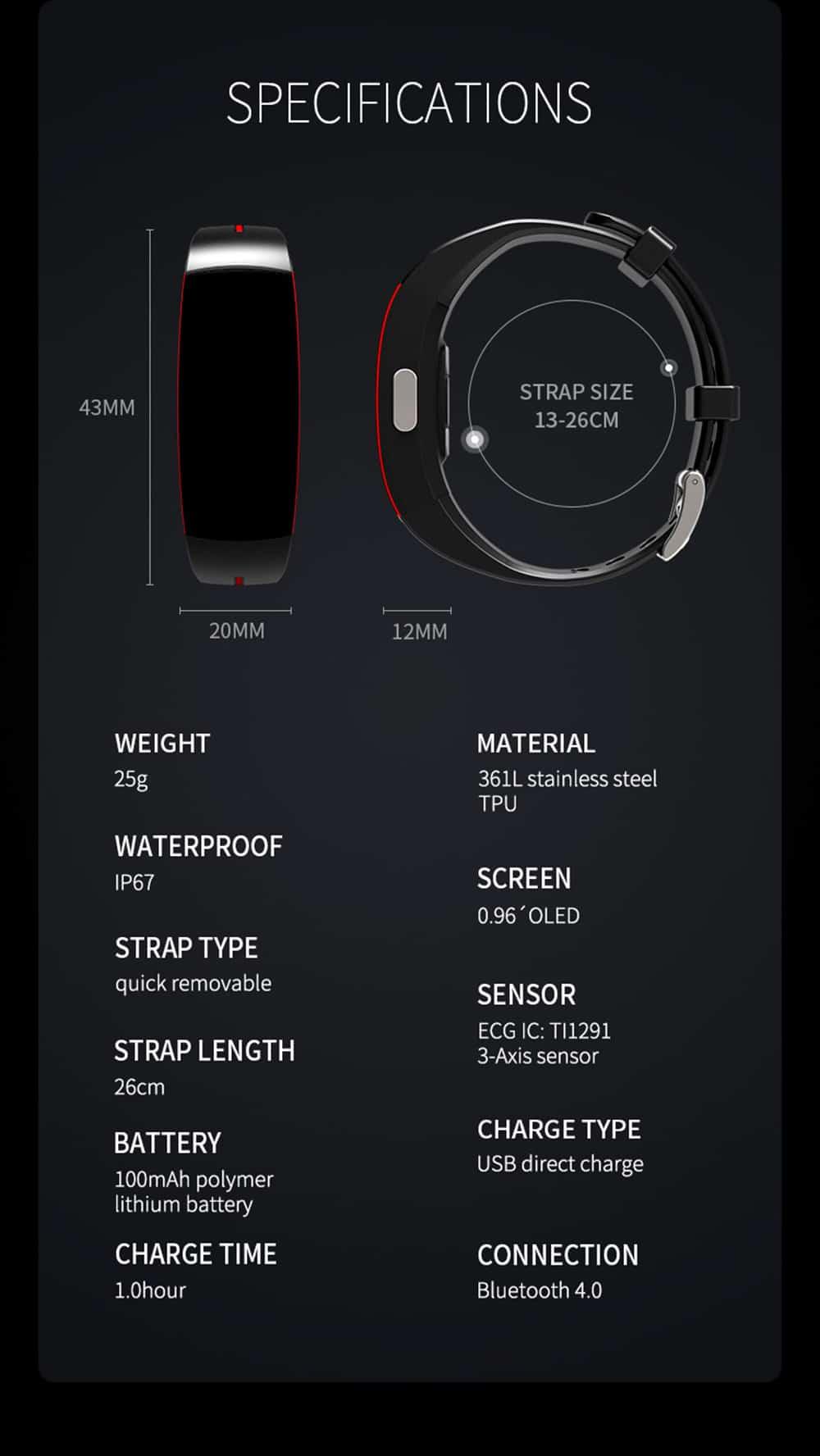 MHKBD PPG ECG Blood Pressure Bracelet IP67 Waterproof Smart Wristband Sports Step Heart Rate Monitoring Wrist Watch KBD0020