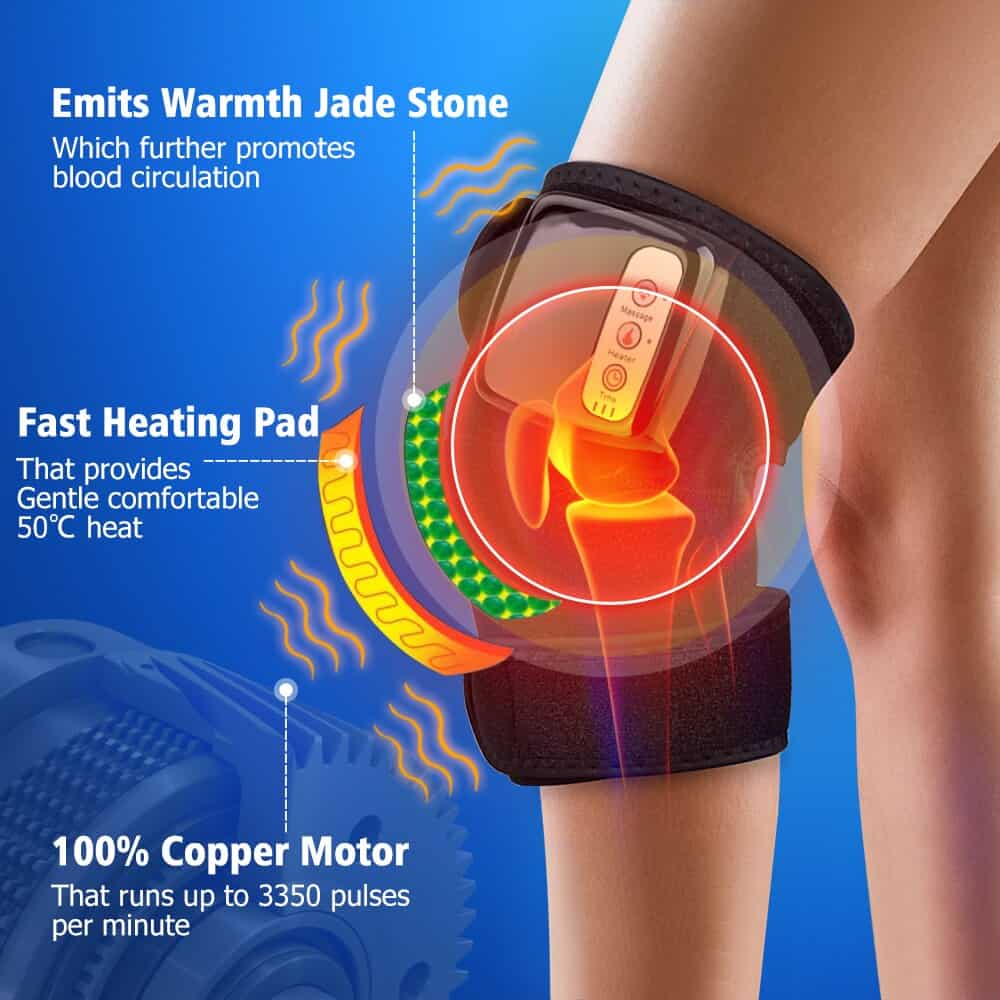 Infrared Heat Knee Brace Wrap Heated Vibration Massage Knee Joint Pain Relief Wireless Massager Knee Osteoarthritis Physical Therapy