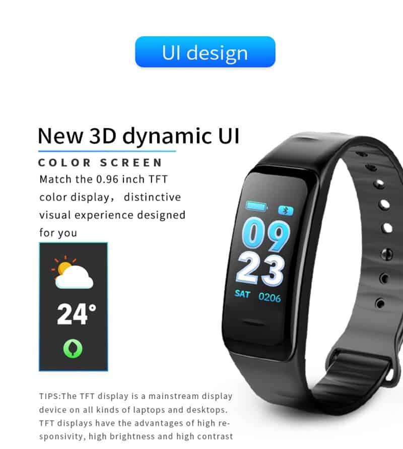 Color Screen C1S Smart Bracelet Waterproof Heart Rate Monitor Health Fitness Tracker Bluetooth Smart Watch for Sport PK MI Band4