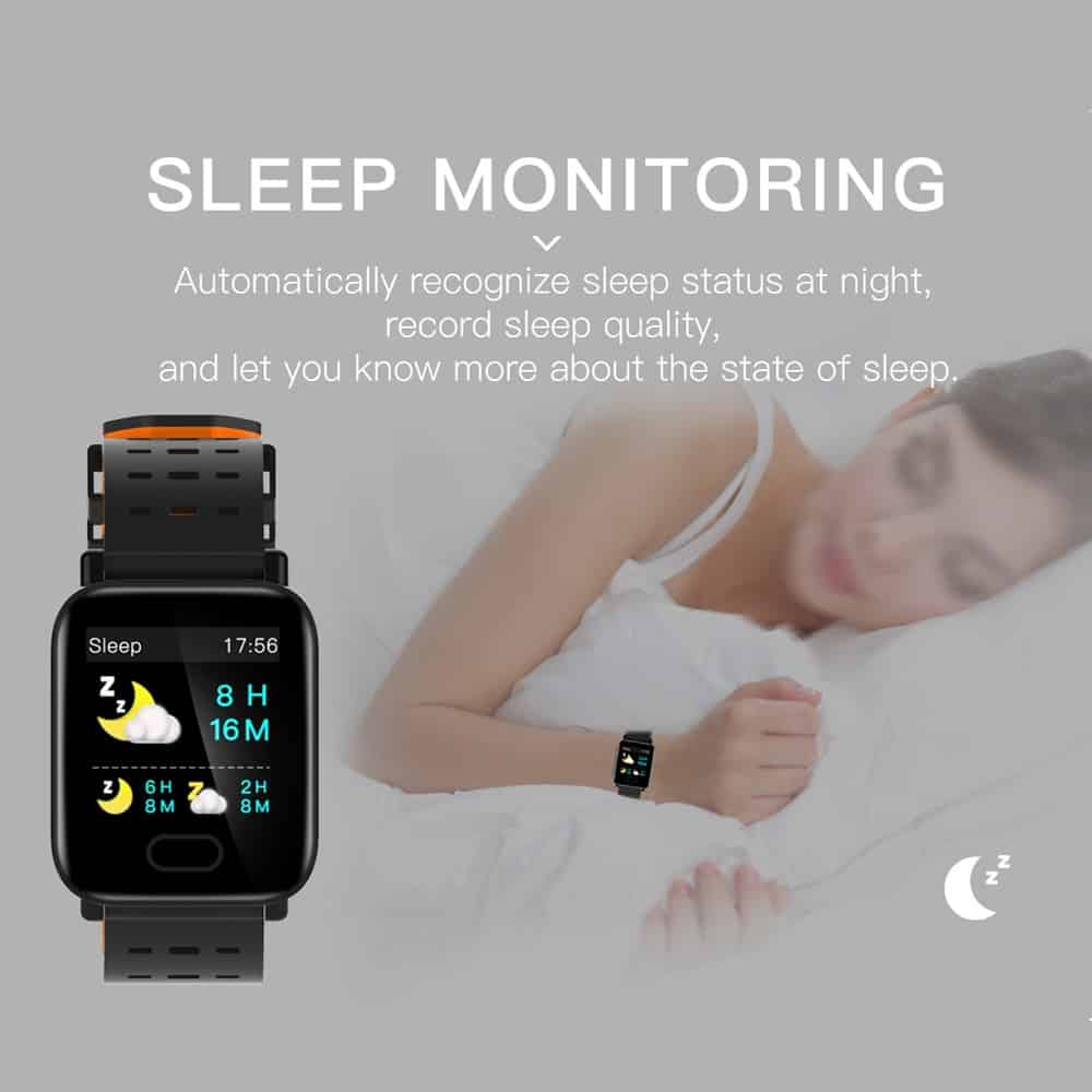 Smart Bracelet Fitness Tracker Large Screen Health Monitoring Blood Pressure Heart Rate Sleeping Sports Detecting Reminder