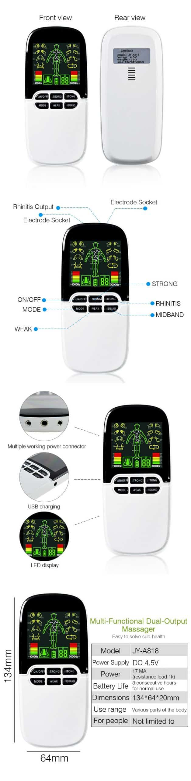 Multi-Functional Dual-Output Muscle Stimulator Tens Acupuncture Physiotherapy Massage Machine EMS/Abs Massager Health Fat Burner