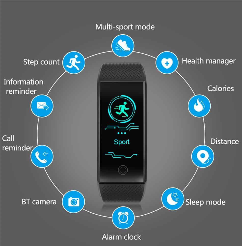 New Brand Fitness Bracelet Smart Pedometer Wristband Heart Rate Monitor Waterproof IP68 Sport Intelligent Bracelet Android&IOS
