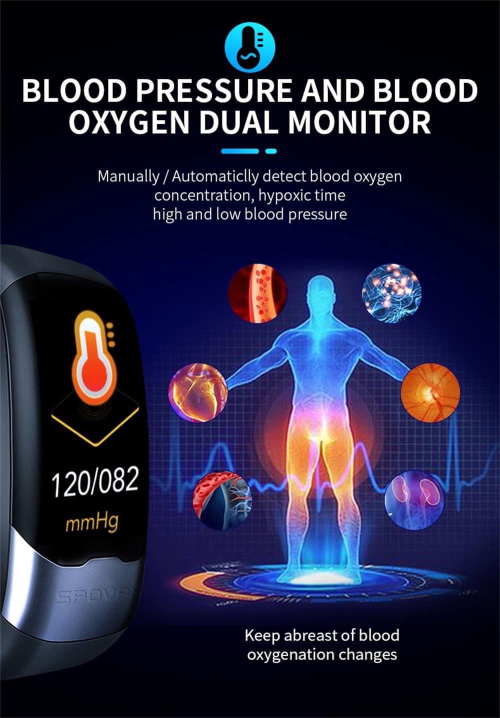 Spovan Smart Band ECG PPG HRV Cardio Monitor Bracelet Pedometer Blood Pressure Sport Activity Tracker Smart Wristband Men Women