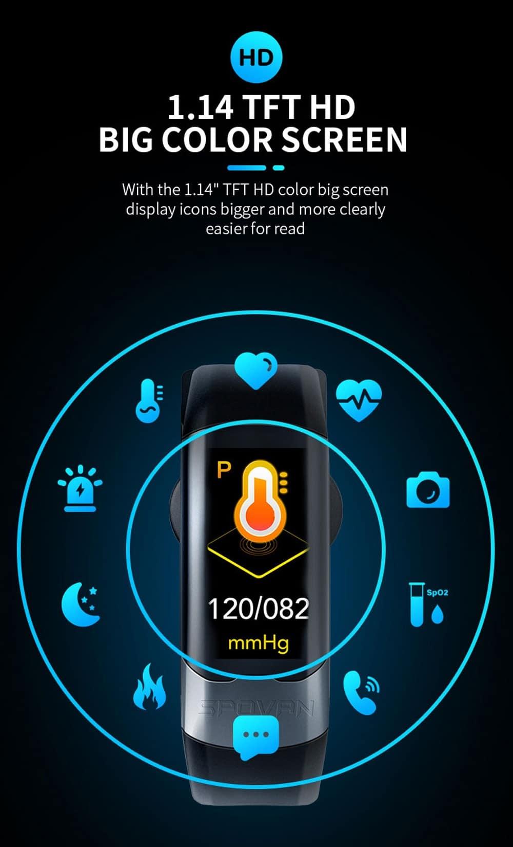 Smart Band ECG PPG HRV Cardio Monitor Bracelet Pedometer Blood Pressure Sport Activity Tracker Smart Wristband Men Women IP67