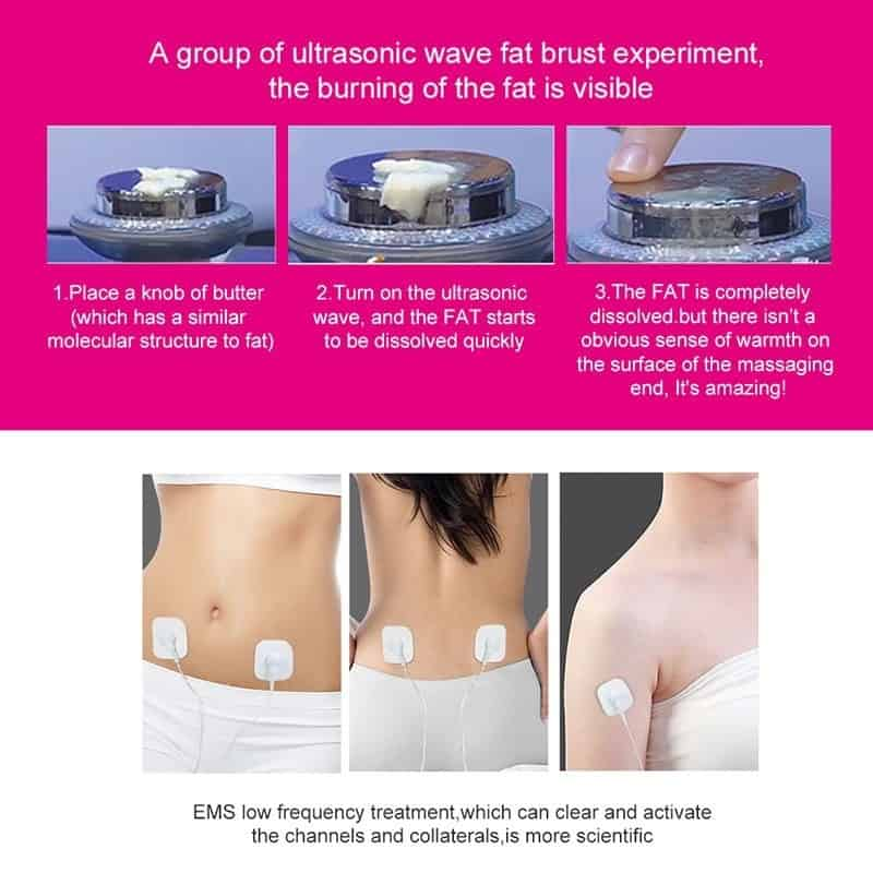 3 in 1 EMS Infrared Ultrasonic Body Massager Device Ultrasound Weight Loss Slimming Fat Burner Cavitation Face Beauty Machine
