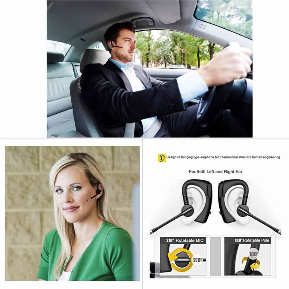 K6 Bluetooth Headset Car Driver Wireless Handsfree Bluetooth Earphone V4.1 Bluetooth Business Office Music Sports Headphones