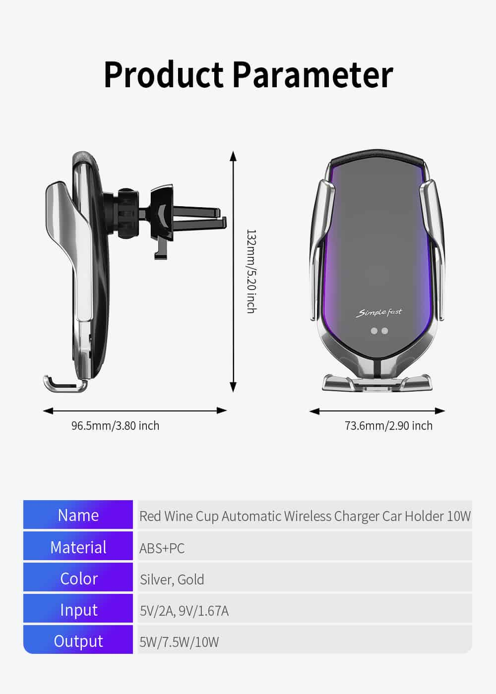 FDGAO 10W Automatic Clamping Fast Wireless Car Charger For iPhone 11 XS X XR 8 Samsung S10 S9 S8 Air Vent Mount Car Phone Holder