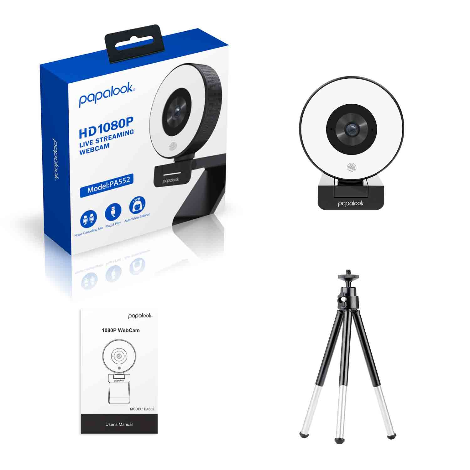 [Original]AUSDOM PA552 Webcam HD 1080P Fixed Focus USB Web Camera with Microphone Light Tripod for PC Twitch Skype OBS Steam