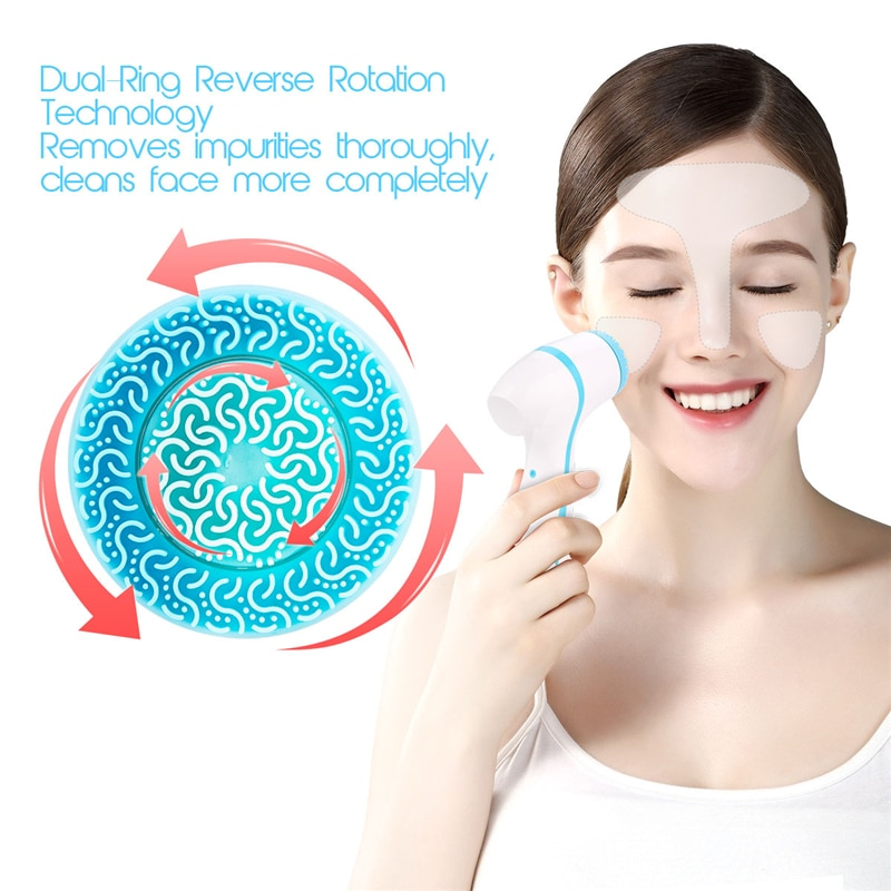 3 In 1 Electric Silicone Facial Cleansing Brush USB Rechargeable Face Massager Pore Cleaner Skin Peeling Blackhead Remover Tool