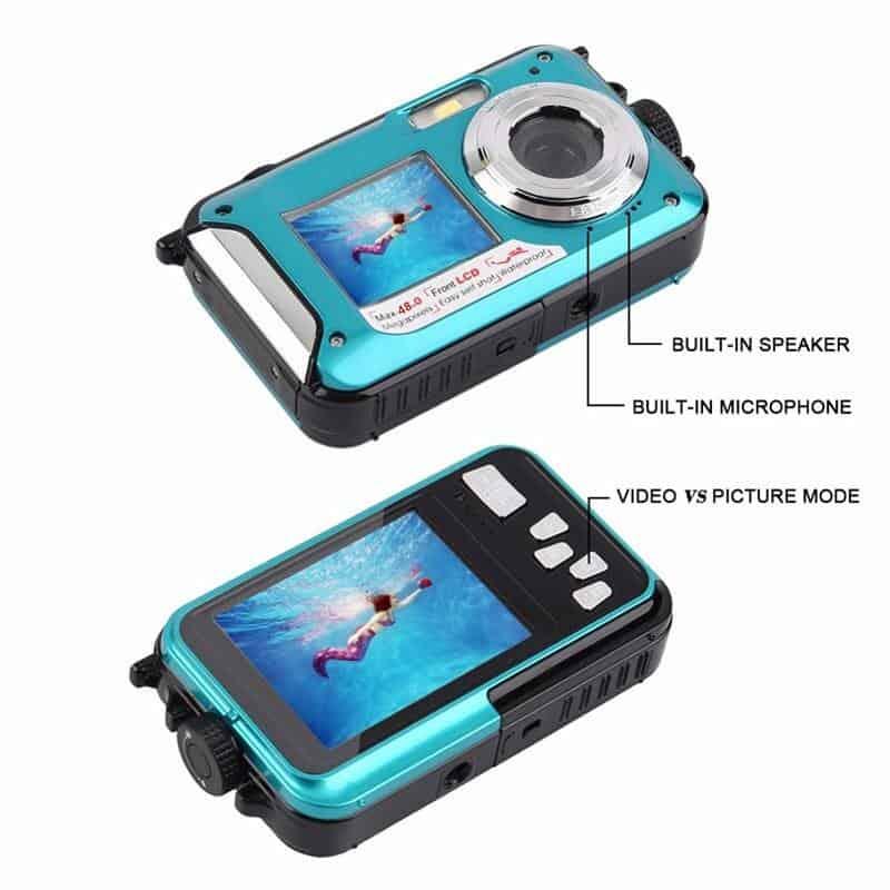 Digital Camera Waterproof Camera 2.7 Inch 1.8 Inch Double Screen Max 48MP 16 X Digital Zoom Black Camcorder